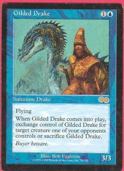Magic the Gathering Urza's Saga Single Gilded Drake - SLIGHT PLAY (SP)