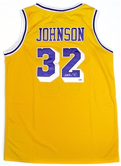 Magic Johnson Autographed Los Angeles Lakers Yellow Jersey (PSA COA)