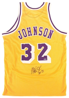 Magic Johnson Autographed Los Angeles Lakers Yellow Jersey (Tristar)