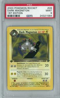 Pokemon Team Rocket 1st Edition Single Dark Magneton 28/82 - PSA 9