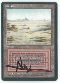 Magic the Gathering 3rd Edition (Revised) FBB ITALIAN Single Badlands Artist Signed - MODERATE PLAY (MP)