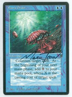 Magic the Gathering Legends Artist Proof Mana Drain - SIGNED & ALTERED BY MARK TEDIN