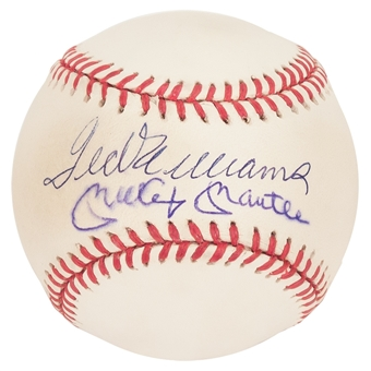 Mickey Mantle & Ted Williams Autographed Official MLB Baseball (Scoreboard)