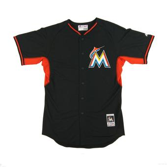 Miami Marlins Majestic Black BP Cool Base Performance Authentic Jersey