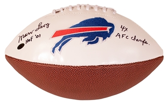 Marv Levy Autographed Buffalo Bills Football w/HOF 01 & 4X AFC Champs Inscript (Leaf)