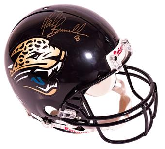 Mark Brunell Autographed Jacksonville Jaguars Authentic Proline Helmet Mounted Memories