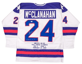 Rob McClanahan Autographed Team USA Miracle On Ice Stat Jersey (JSA)