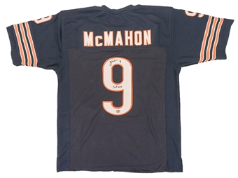 Jim Mcmahon Autographed Chicago Bears Throwback Football Jersey (Fanatics)