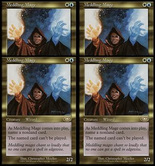 Magic the Gathering Planeshift PLAYSET Meddling Mage - NEAR MINT (NM) Artist Signed