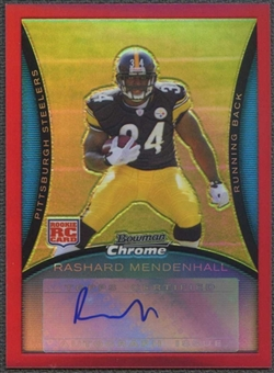 2008 Bowman Chrome Football Rashard Mendenhall Red Refractor Rookie Auto #3/5