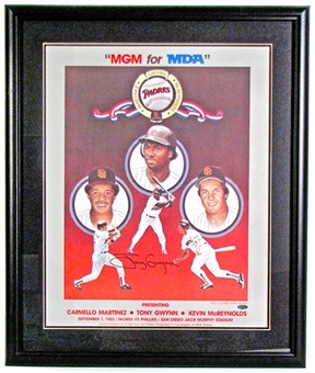 Tony Gwynn Autographed & Framed San Diego Padres Promotional Poster (Steiner COA)