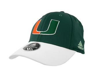 Miami Hurricanes Adidas Green Offical Sideline Flex Fit Hat (Adult S/M)