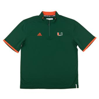 Miami Hurricanes Adidas Green Climalite Performance 1/4 Zip SS Shirt (Adult Large)