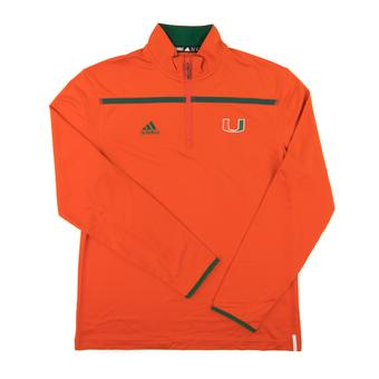 Miami Hurricanes Adidas Orange Climalite Performance 1/4 Zip LS Shirt (Adult Medium)