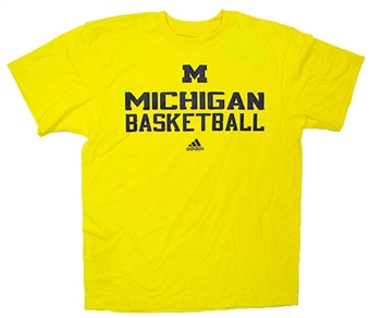 University of Michigan Wolverines Basketball Yellow Adidas T-Shirt (Size Medium)