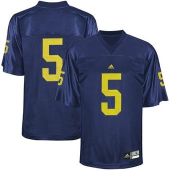 University of Michigan Wolverines Adidas Navy #5 Replica Football Jersey (Size X-Large)