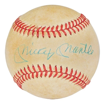 Mickey Mantle Autographed Official American League Baseball (JSA COA) Bobby Brown