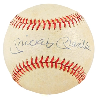 Mickey Mantle Autographed Official American League Baseball (JSA COA) MacPhail