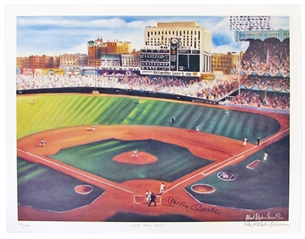 Mickey Mantle Autographed NY Yankees 20x26 Lithograph (PSA COA)
