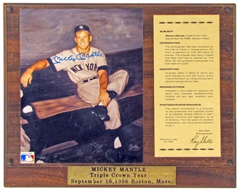 Mickey Mantle Autographed NY Yankees 8x10 Plaque (JSA)