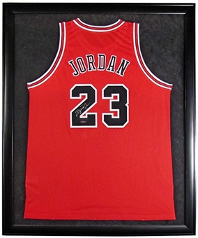 Michael Jordan Autographed and Framed Chicago Bulls Red Jersey (UDA COA)