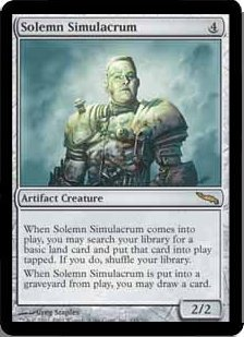 Magic the Gathering Mirrodin Single Solemn Simulacrum MODERATE PLAY (VG/EX)