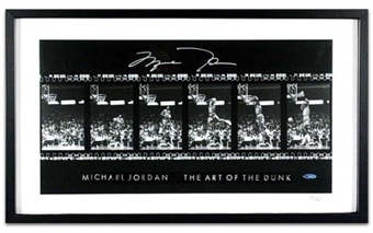 "Michael Jordan Autographed and Framed Filmstrip ""Art of the Dunk"" Photo"