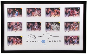 Michael Jordan UNC Limited Edition Framed Autographed 5x7 Collection - 11 Autographs! (UDA)