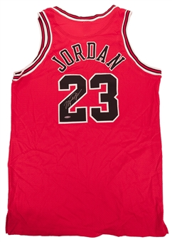 Michael Jordan Autographed Chicago Bulls Red Jersey (UDA)