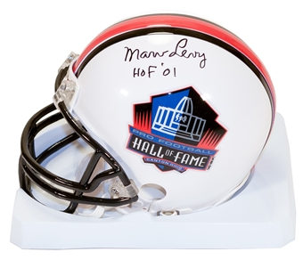 Marv Levy Autographed Buffalo Bills Hall of Fame Football Mini Helmet w/HOF 01