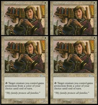 Magic the Gathering Urza's Legacy PLAYSET Mother of Runes FOIL - SLIGHT PLAY (SP)