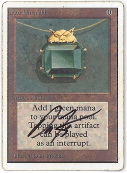 Magic the Gathering Unlimited Single Mox Emerald - MODERATE PLAY (MP) ARTIST SIGNED