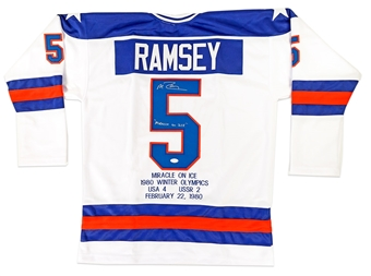 Mike Ramsey Autographed Team USA Miracle On Ice Stat Jersey (JSA)