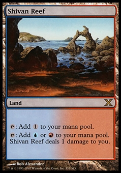 Magic the Gathering 10th Ed. Single Shivan Reef FOIL - MODERATE PLAY (MP)