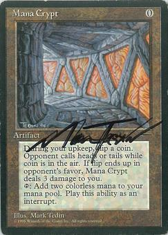 Magic the Gathering Promo SIGNED Single Mana Crypt - MODERATE PLAY (MP)