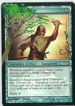 Magic the Gathering PROMO GP FOIL ALTERED AND SIGNED Single Umezawa's Jitte - NEAR MINT
