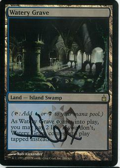 Magic the Gathering Ravnica: City of Guilds SIGNED Single Watery Grave FOIL - SLIGHT PLAY (SP)