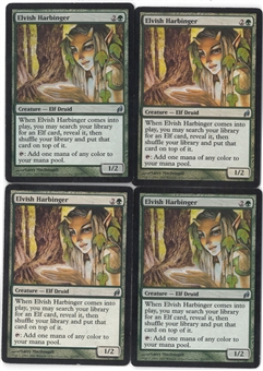 Magic the Gathering Lorwyn PLAYSET Elvish Harbinger X4 - SLIGHT PLAY (SP)