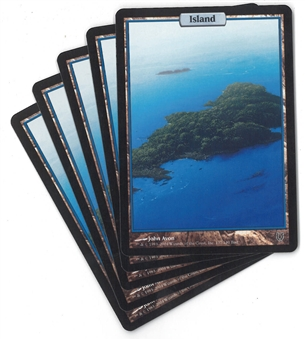 Magic the Gathering Unhinged Single Basic Island X5 - SLIGHT PLAY (SP)