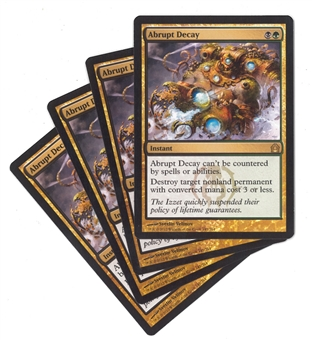 Magic the Gathering Return to Ravnica PLAYSET Abrupt Decay X4 - SLIGHT PLAY (SP)