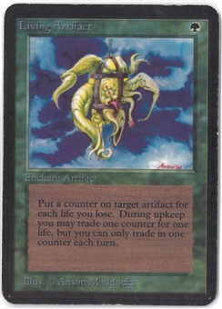 Magic the Gathering Alpha Single Living Artifact - MODERATE PLAY (MP)