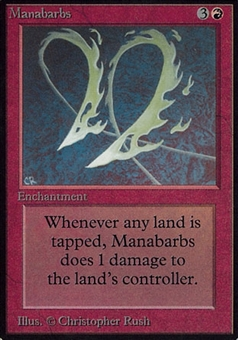 Magic the Gathering Alpha Single Manabarbs - MODERATE PLAY (MP)