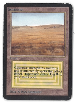 Magic the Gathering Alpha Single Savannah - SLIGHT / MODERATE PLAY (SP/MP)