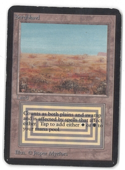 Magic the Gathering Alpha Single Scrubland - SLIGHT / MODERATE PLAY (SP/MP)