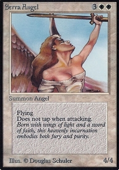 Magic the Gathering Alpha Single Serra Angel - MODERATE PLAY (MP)