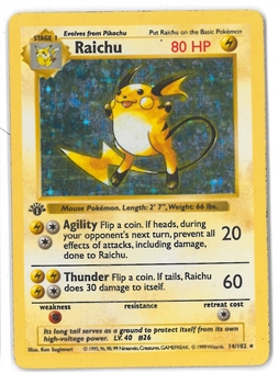 Pokemon Base Set 1 Single Raichu 14/102 1st Edition Shadowless - MODERATE PLAY