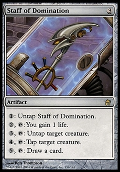 Magic the Gathering Fifth Dawn CHINESE Single Staff of Domination - SLIGHT PLAY (SP)