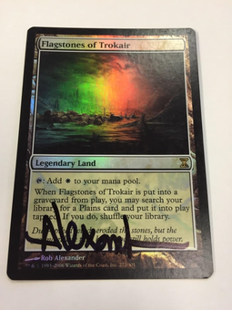Magic the Gathering Time Spiral Single Flagstones of Trokair FOIL SIGNED BY ARTIST - SLIGHT PLAY (SP)