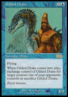 Magic the Gathering Urza's Saga SPANISH Single Gilded Drake - MODERATE PLAY (MP)