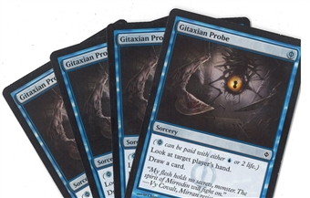 Magic the Gathering New Phyrexia PLAYSET Gitaxian Probe X4 - MODERATE PLAY (MP)